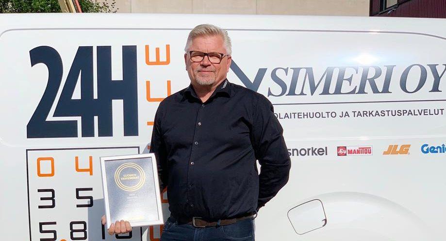 Simeri Oy vastaanotti Suomen Vahvimmat -sertifikaatin