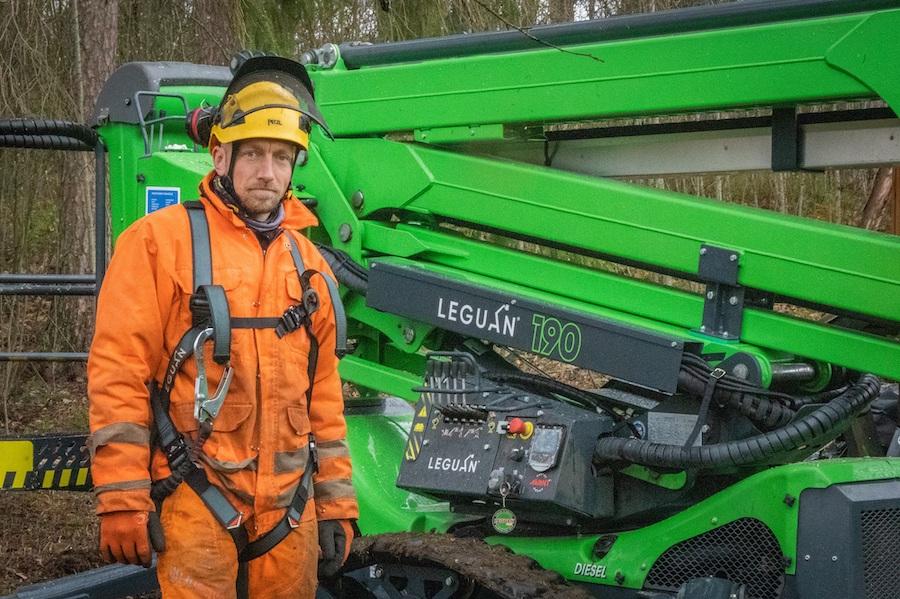 Leguan 190 auttaa kaatamaan vaikeimmatkin puut